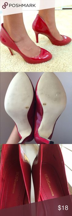 BCBGeneration Red Patent Leather Size 9B/39 Heels Great condition there's a small scuff mark shown in the picture and a black mark on the inside. Other then that they're like new. If you have wide feet these will not fit! That's the only reason I'm selling them because my feet are too wide! My daughter was nice enough to model these for me. Enjoy these heels at a great price! BCBGeneration Shoes Heels
