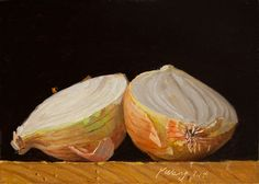 Wang Fine Art: onion two halves, still life food painting for kit...