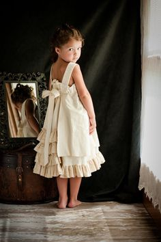 Custom Portrait Dress - Feliz Party Dress - Creamy White Lace - size 2-8. $100.00, via Etsy.