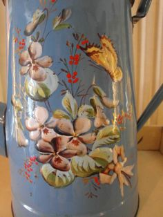 Enameled  French COFFEE POT in Blue hand by villavillacolle, $230.00