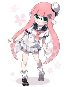 Just your typical inkling girl in a school uniform. oh wait, I mean a sailor o. Moe Manga, Manga Kawaii, Moe Anime, Kawaii Anime Girl, Anime Manga, Anime Girls, Splatoon Games, Splatoon Squid, Nintendo Splatoon