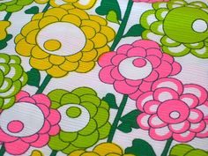 Vintage Fabric  Lollipop Flowers  Hot Pink Yellow by NehiandZotz, $18.00