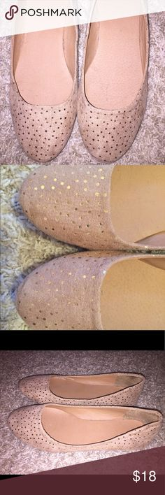 Tan and Gold Polka Dot Flats These flats have been worn once and are in great condition! I had two pairs just like them. Francesca's Collections Shoes Flats & Loafers