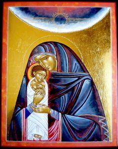 Theotokos in the style of iconographer Lyuba Yatskiv - by Claudette Zeimes-Wagener