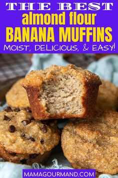 Easy Almond Flour Banana Muffins combine simple ingredients to make a moist, fluffy treat that are naturally gluten free, low carb, and easily adaptable for Paleo or Keto diets! Bake up a healthy muffin that everyone in the family will love! #almondflour #muffins #banana #healthy #easy #glutenfree #lowcarb #moist #paleo #keto