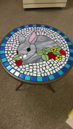 Stained Glass Bunny Table