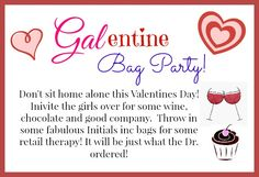 Get the girlfriends together for an Initials inc GALentine's Party! A little retail therapy makes everything all better! Theme Ideas, Party Ideas, Direct Sales Party, Initials Inc, Thirty One Business, Thirty One Consultant, Interactive Posts, Vendor Events, Pink Bubbles