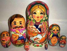 Gorgeous Nesting Doll Stacking Dolls 7 Ukrainian Family | eBay