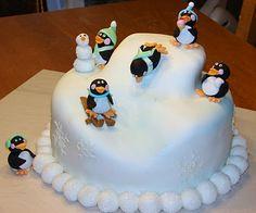Penguin Skiing Cake
