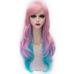 Trendy Long Wavy Side Bang Pink Ombre Blue Heat Resistant Fiber Capless Layered Wig For Women (AS THE PICTURE)   Sammydress.com Mobile