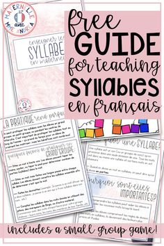 Maternelle avec Mme Andrea: How to make sure your French Primary Students Master Syllables. FREE guide for French teachers! Spanish Language Learning, Teaching Spanish, Teaching Reading, Spanish Activities, Guided Reading, Primary Teaching, Work Activities, French Teaching Resources, Teacher Resources