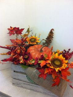Pumpkin crate custom floral by Andrea for Michaels Laverne ca