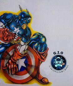 Mi version propia del primer Avenger! Hecho a mano! Encuentra ropa y otros productos siguiendo la dirección electrónica! Avengers, My Drawings, Captain America, Superhero, Mugs, Link, Artwork, Handmade, Shirts