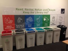 The University of Strathclyde Library say: 'We're a #GreenUniLibrary! Help us by using the right bin for your rubbish. Recycling stations are on every floor.'