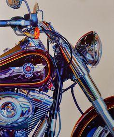 Harley Davidson - oil on canvas 100cm x 80cm by Linaldo Cardoso - 2014