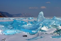 "nubbsgalore: "" russia's lake baikal - the world's oldest, largest and deepest freshwater lake - freezes over for half the year, creating clear, turquoise shards of ice. (photos x, x x, x, x, x) """