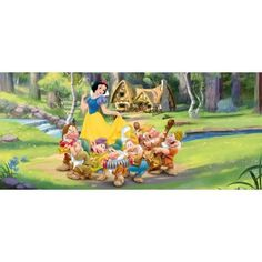 Snow White and The Seven Dwarfs Poster Photo Wallpaper - in The Woods x 35 inches) Nursery Wallpaper, Paper Wallpaper, Photo Wallpaper, Snow White Wallpaper, Poster Disney, Disney Wall Murals, How To Apply Wallpaper, Poster Mural, Baby Room Wall Decor