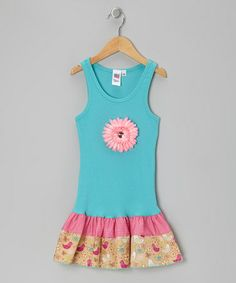 Take a look at this Turquoise & Bird Daisy Frill Drop-Waist Dress - Toddler & Girls by Bubblegum Diva on #zulily today!