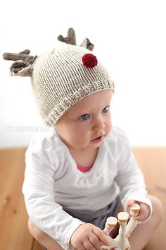 c9ca0f9100a Reindeer Baby Hat KNITTING PATTERN for babies   toddlers   Christmas Hat  Baby   Baby Reindeer Hat   Christmas Knit Hat  My First Christmas. Etsy