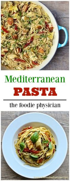 Mediterranean Pasta | @foodiephysician - just skip the parma for dairy-free!