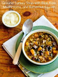 Ground Turkey Soup Recipe with Rice, Kale, Mushrooms, and Butternut Squash; perfect soup for those cold nights. Use spinach or chard if you're not a fan of kale. [from KalynsKitchen.com] #GroundTurkeySoup #GlutenFree