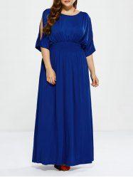 Plus Size Cut Out Shirred Maxi Dress - ROYAL 3XL