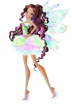 Daphne in Dreamix Design created by Winx-Rainbow-Love Wings by HimoMangaArtist Drawn on base Wallpaper Without background