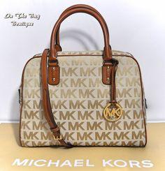 Michael Kors Large Satchel MK Signature Brown Shoulder Crossbody Bag Purse NWT #MichaelKors #ShoulderBagSatchel