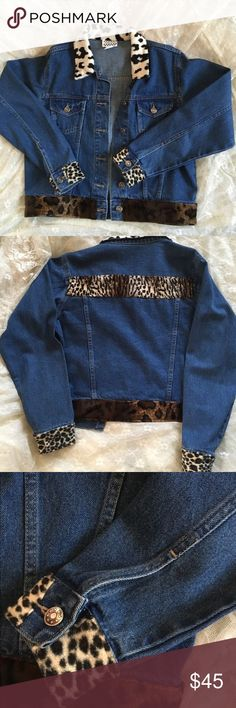Denim jacket with animal faux fur on collar/sleeve This unique denim jacket is trimmed with faux leopard fur on collar, sleeves and bottom of jacket.  Excellent condition, size medium. country pickens Jackets & Coats Jean Jackets