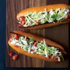 """BLT Hot Dogs with Caraway Remoulade: These """"BLT"""" hot dogs are topped with crispy bacon, fresh tomatoes and crunchy lettuce dressed with a creamy caraway-pickle mayonnaise"""