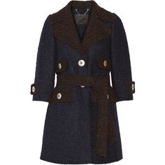 Marc Jacobs - Two-tone Llama And Wool-blend Coat ($1,400) ❤ liked on Polyvore featuring outerwear, coats, navy, navy coat, navy blue coat, marc jacobs, marc jacobs coat and wool blend coat