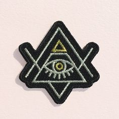 All Seeing Eye Patch - Iron On - Embroidered Applique - Evil Eye - Pyramid - Illuminati - Black - Gold - Silver