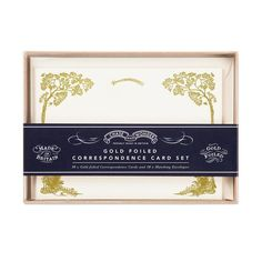 Enchanted Forest Correspondence set - by Chase and Wonder. This Correspondence set comes in a fine card box, and contains gold foiled correspondence cards and envelopes. All proudly made in Britain.