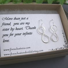 Set of 6 - Bridesmaid gift - wedding jewelry - sterling infinity earrings - bridal gift for mother of bride, bridesmaid, friend, sister ..e2 via Etsy