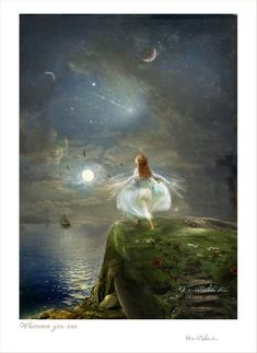 Mounted Fairy art print Wherever you are - Wendy by Charlotte Bird Fantasy Kunst, Fantasy Art, Oil Paint Effect, Fairy Art, Faeries, Illustrators, Fairy Tales, Fine Art Prints, Images