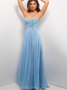 A-line Beaded Sweetheart Sky Blue Chiffon Long Prom Dress /Formal Dress/Evening dress 9549