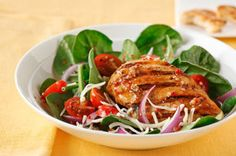 Brush chicken breasts with roasted red pepper dressing prior to grilling in this Mediterranean-inspired salad. Serve with Italian bread and enjoy! Mediterranean Chicken Salad Recipe, Chicken Salad Recipes, Healthy Salad Recipes, Mediterranean Recipes, Healthy Dinners, Healthy Eats, Yummy Recipes, Tostadas, Slow Cooked Chicken