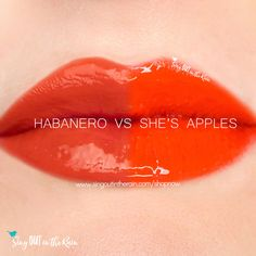 Compare Habanero vs. She's Apples LipSense using this photo. Habanero is part of the Fiesta LipSense Collection by SeneGence.