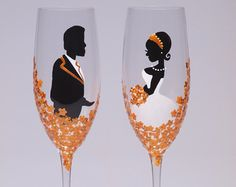 Hand painted Wedding Toasting Flutes Set of 2 от pastinshs на Etsy
