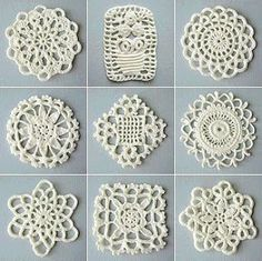 Lapghans Crochet - Basic Embroidery Stitches Embroidery stitch for beginners Crochet Square Patterns, Lace Patterns, Crochet Squares, Thread Crochet, Filet Crochet, Crochet Motif, Lace Doilies, Crochet Doilies, Crochet Flowers