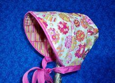 Preemie Peekaboo Baby Bonnet in Pink Flowers by AdorableandCute, $24.00