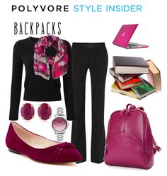 """""""Backpack in Mulberry"""" by sommer-reign on Polyvore featuring Victoria Beckham, Pure Collection, Bindya, Cole Haan, Belk & Co., Nine West, CO, Speck, backpacks and contestentry"""