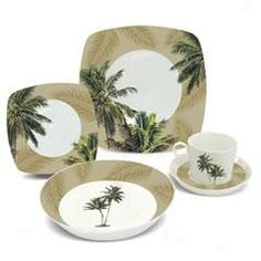 hawaiian+dinnerware | Coconut Palm Porcelain Dinnerware Set