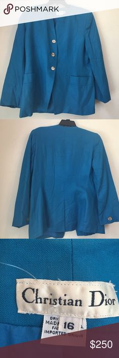 Host pick: Christian Dior blue blazer size 16 Thanks so much for looking. I accept all reasonable offers!!  Host pick for plus size posh party 4/12/17!! Christian Dior Jackets & Coats Blazers