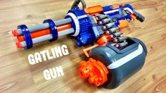 To be exact, this is supposed to be called a MINIGUN. We apologize for mixing things up! We are no experts when it comes to real fire arms! We just enjoy mod. All Nerf Guns, Office Warfare, Modified Nerf Guns, Nerf Gun Storage, Pistola Nerf, Nerf Mod, 3d Printing Diy, Noah, Teacup Puppies
