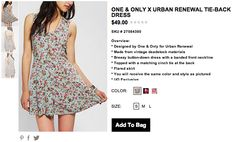 Urban Outfitters  One & Only X Urban Renewal Tie-Back Dress