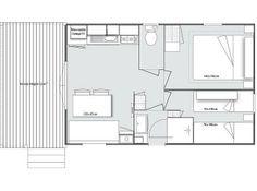 Τροχοβίλα 804 με 2 υπνοδωμάτια & ξύλινη βεράντα Κάτοψη Wooden House, Floor Plans, Floor Plan Drawing, House Floor Plans