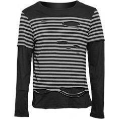 Gothic long-sleeve shirt from the Queen of Darkness mens clothing collection, striped with cut holes.