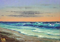 Escena costera, pintura al óleo original de ACEO.
