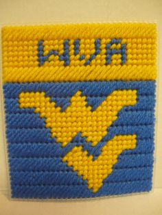 West Virginia Plastic Canvas Coasters, Plastic Canvas Tissue Boxes, Plastic Canvas Crafts, Plastic Canvas Patterns, Football Canvas, College Crafts, Cross Stitch Letters, Butterfly Template, Box Patterns